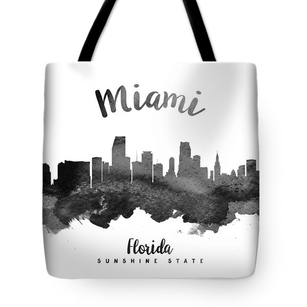 Miami Florida Skyline 18 Tote Bag by Aged Pixel
