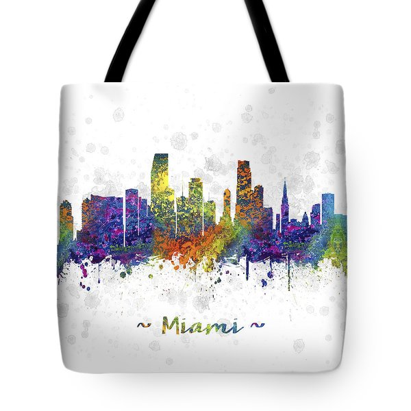 Miami Florida Skyline Color 03sq Tote Bag by Aged Pixel