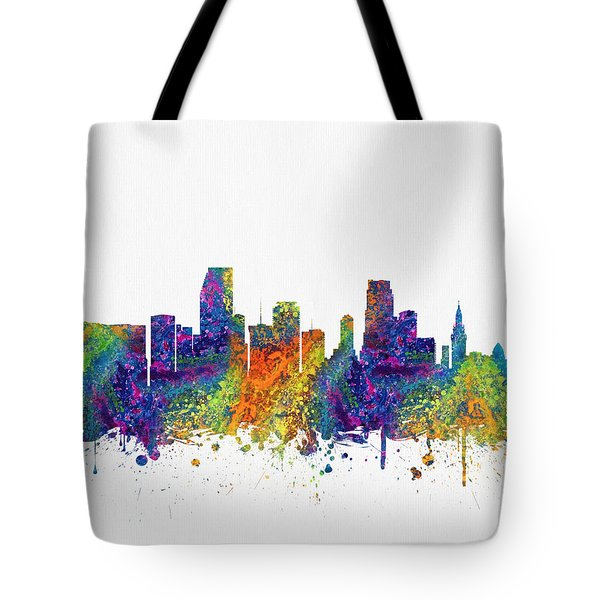 Miami Florida Skyline Color03 Tote Bag by Aged Pixel
