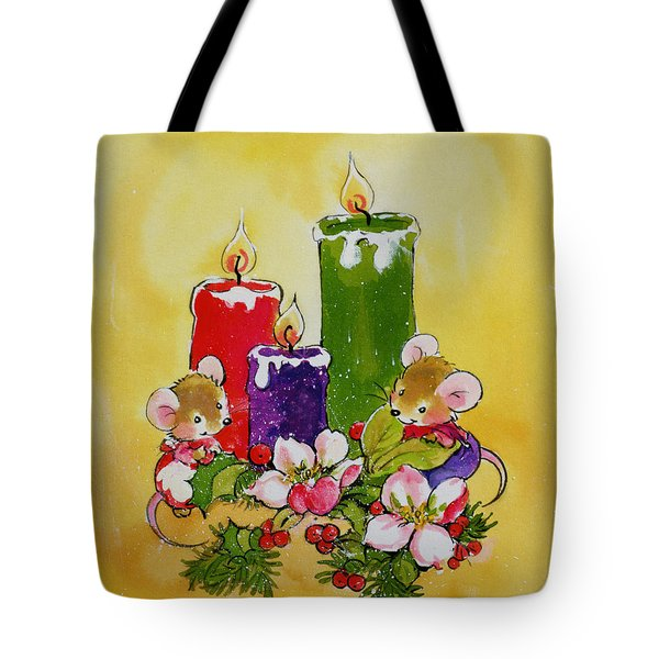 Mice With Candles Tote Bag by Diane Matthes
