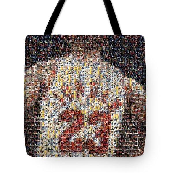 Michael Jordan Card Mosaic 2 Tote Bag by Paul Van Scott