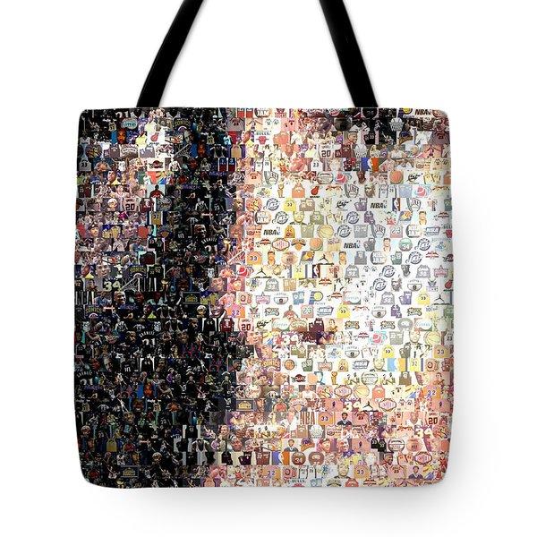 Michael Jordan Face Mosaic Tote Bag by Paul Van Scott