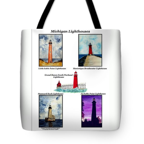 Michigan Lighthouses Collage Tote Bag by Michael Vigliotti