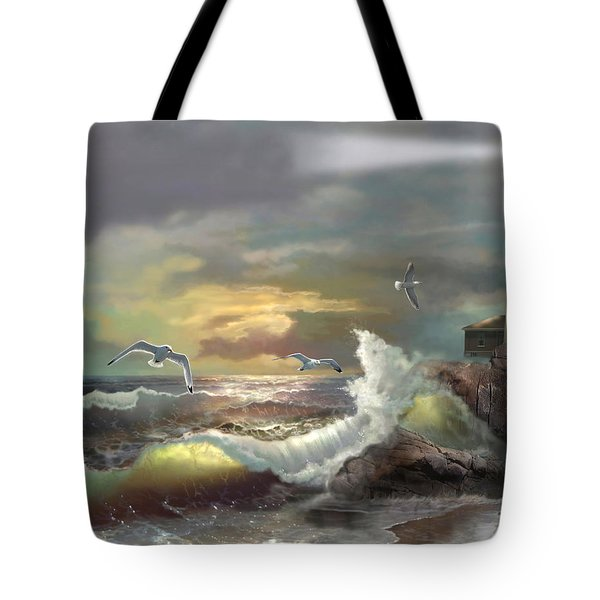 Michigan Seul Choix Point Lighthouse With An Angry Sea Tote Bag by Regina Femrite