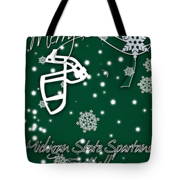 Michigan State Spartans Christmas Card Tote Bag by Joe Hamilton