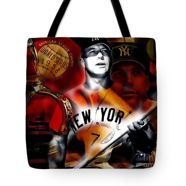 Mickey Mantle Collection Tote Bag by Marvin Blaine