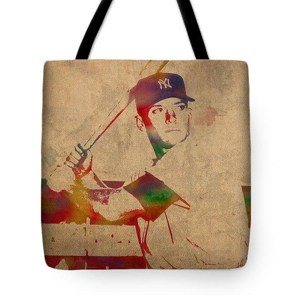 Mickey Mantle New York Yankees Baseball Player Watercolor Portrait On Distressed Worn Canvas Tote Bag by Design Turnpike