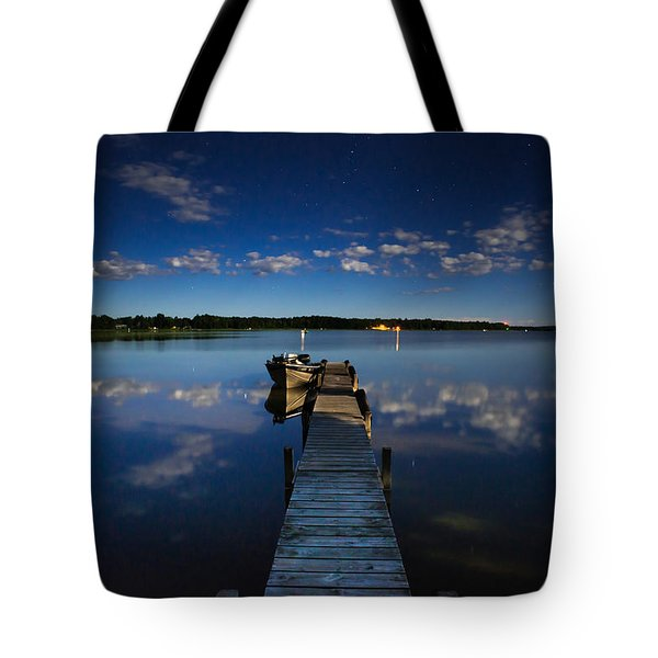 Midnight At Shady Shore On Moose Lake Minnesota Tote Bag by Alex Blondeau