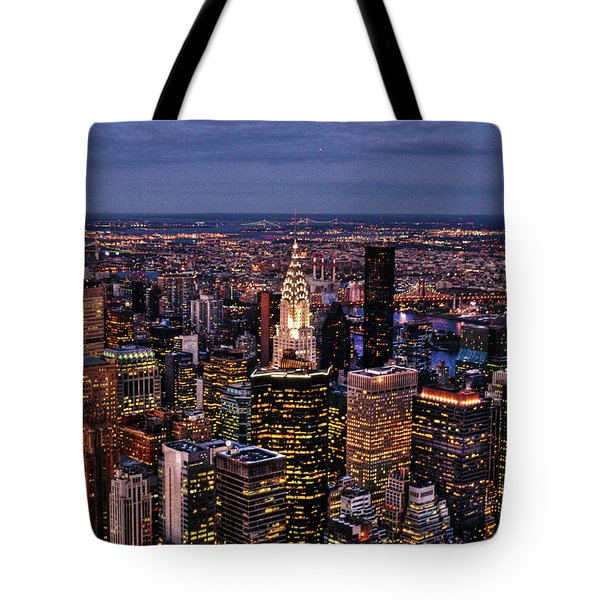 Midtown Skyline At Dusk Tote Bag by Randy Aveille