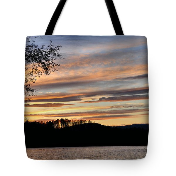 Mill Creek Lake Sun Set Tote Bag by Todd Hostetter