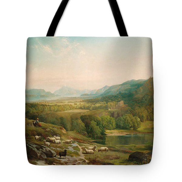 Minding The Flock Tote Bag by Thomas Moran