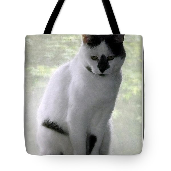 Miss Jerrie Cat With Watercolor Effect Tote Bag by Rose Santuci-Sofranko