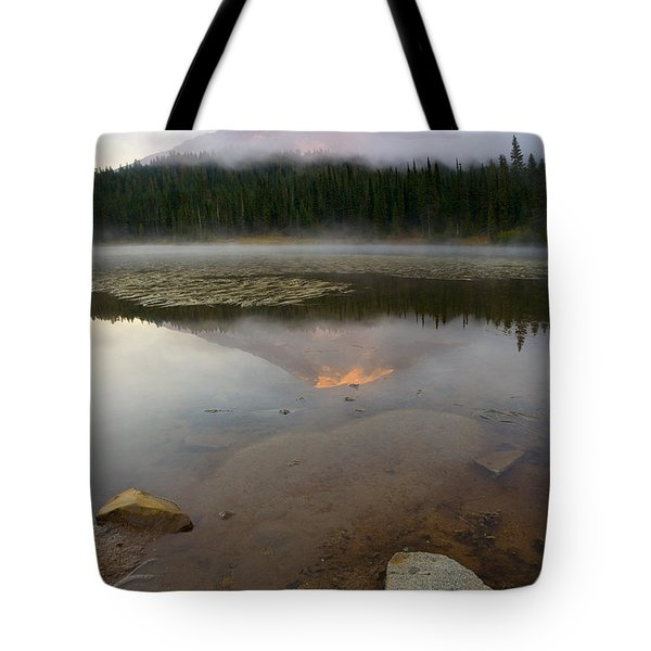Misty Alpenglow Tote Bag by Mike  Dawson