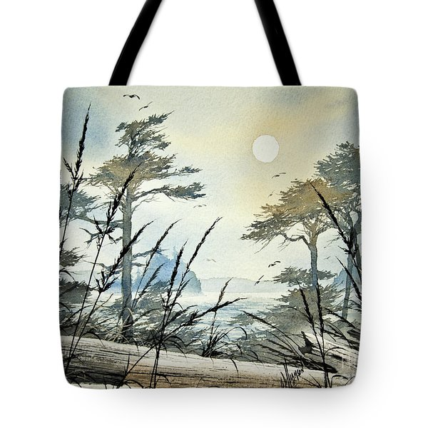 Misty Island Dawn Tote Bag by James Williamson