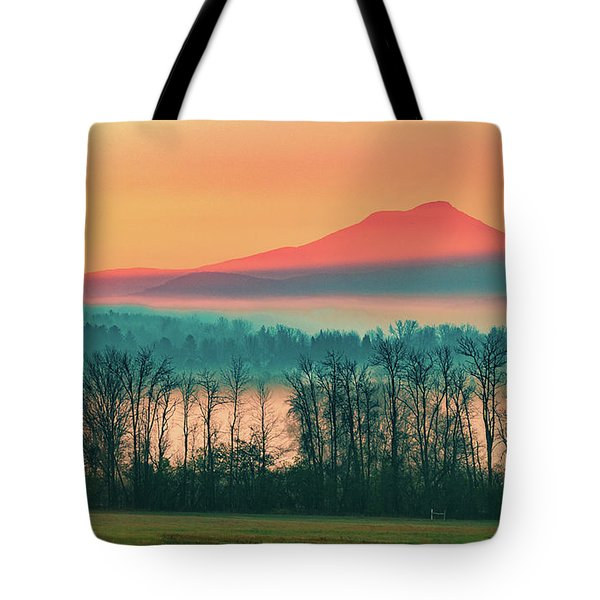 Misty Mountain Sunrise Part 2 Tote Bag by Alan Brown