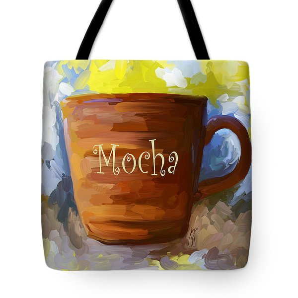 Mocha Coffee Cup Tote Bag by Jai Johnson