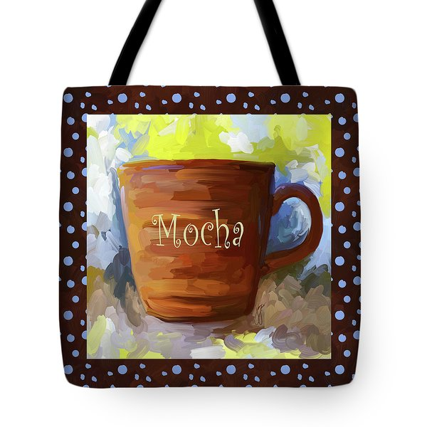 Mocha Coffee Cup With Blue Dots Tote Bag by Jai Johnson