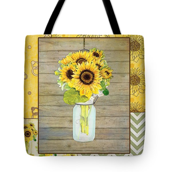 Modern Rustic Country Sunflowers In Mason Jar Tote Bag by Audrey Jeanne Roberts