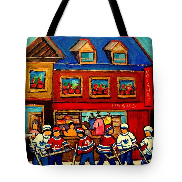 Moishes Steakhouse Hockey Practice Tote Bag by Carole Spandau