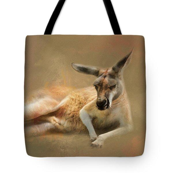 Monday Morning Drowsies Kangaroo Art Tote Bag by Jai Johnson