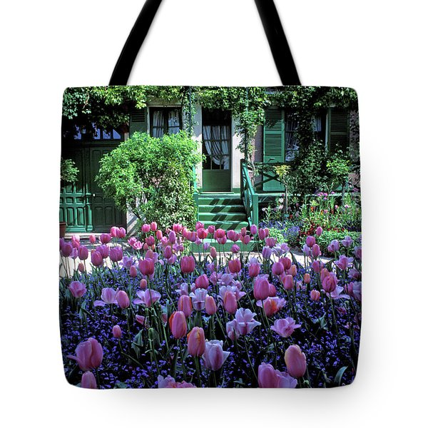 Monet's House With Tulips Tote Bag by Kathy Yates