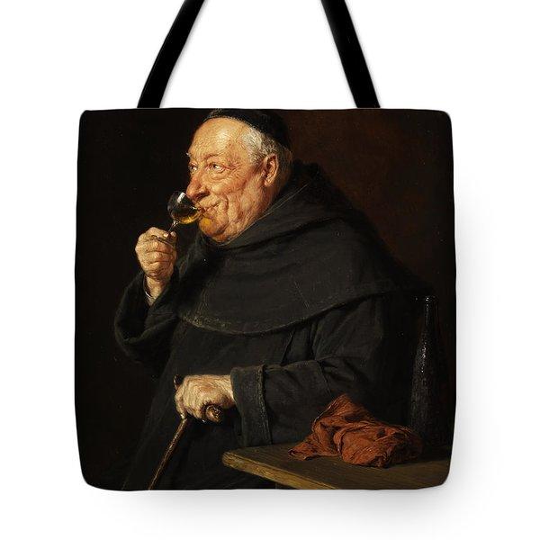 Monk With A Wine Tote Bag by Eduard von Grutzner