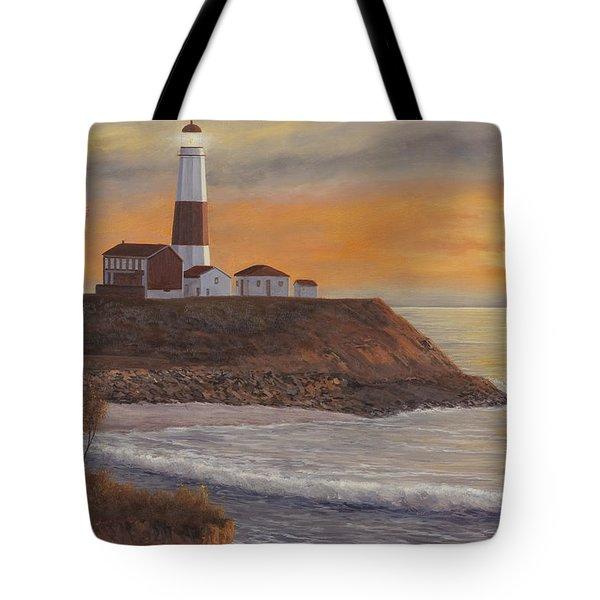 Monntauk Lighthouse Sunset Tote Bag by Diane Romanello
