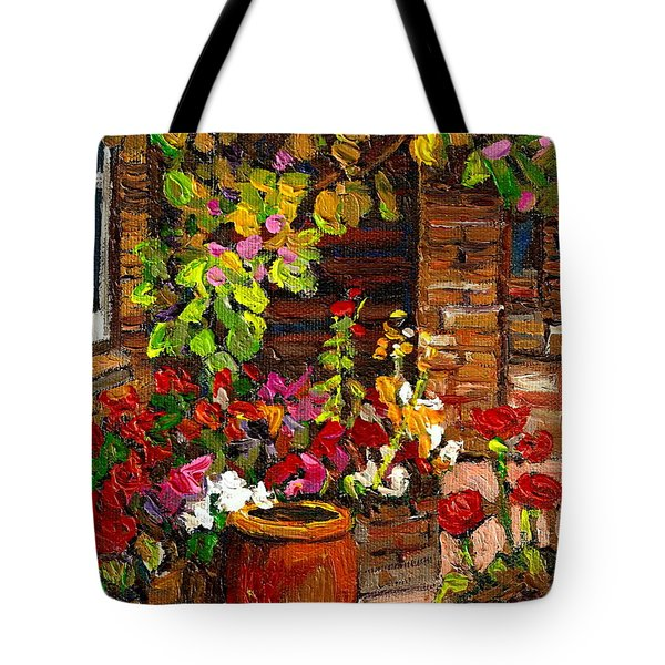 MONTREAL CITYSCENES HOMES AND GARDENS Tote Bag by CAROLE SPANDAU