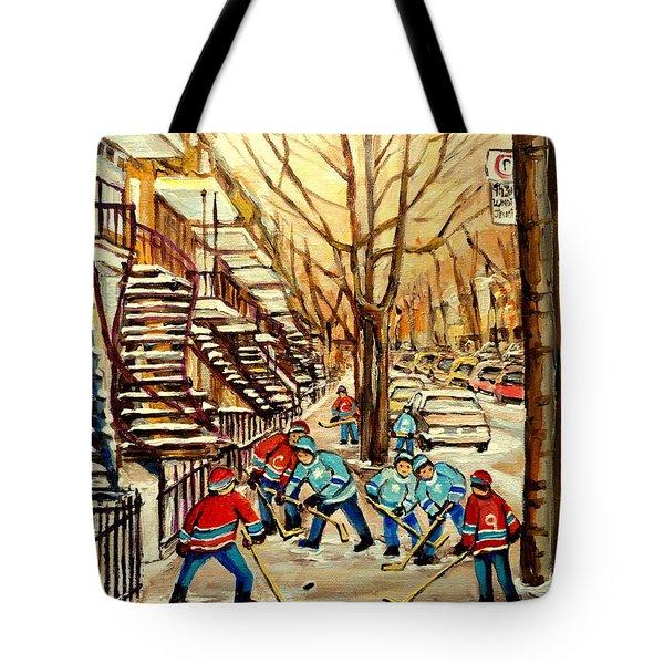 MONTREAL STREET HOCKEY PAINTINGS Tote Bag by CAROLE SPANDAU