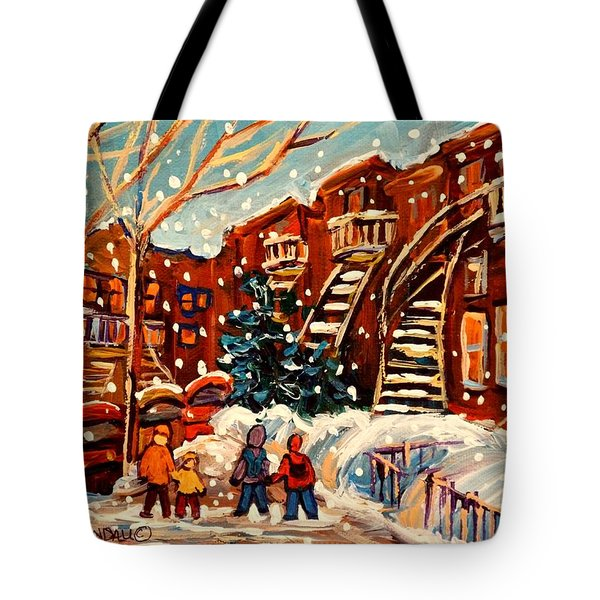 MONTREAL STREET IN WINTER Tote Bag by CAROLE SPANDAU
