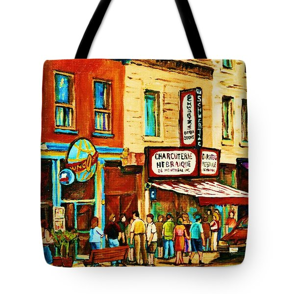 Montreal Streetscene Artist Carole Spandau Paints Schwartzs Main Street Hustle Bustle Tote Bag by Carole Spandau