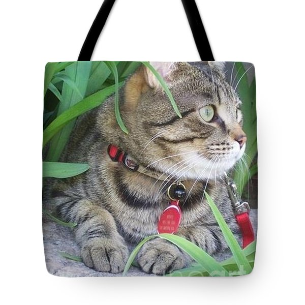 Monty in the garden Tote Bag by Jolanta Anna Karolska