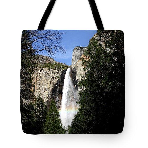 Moon Over Bridalveil Fall At Yosemite Tote Bag by Wingsdomain Art and Photography