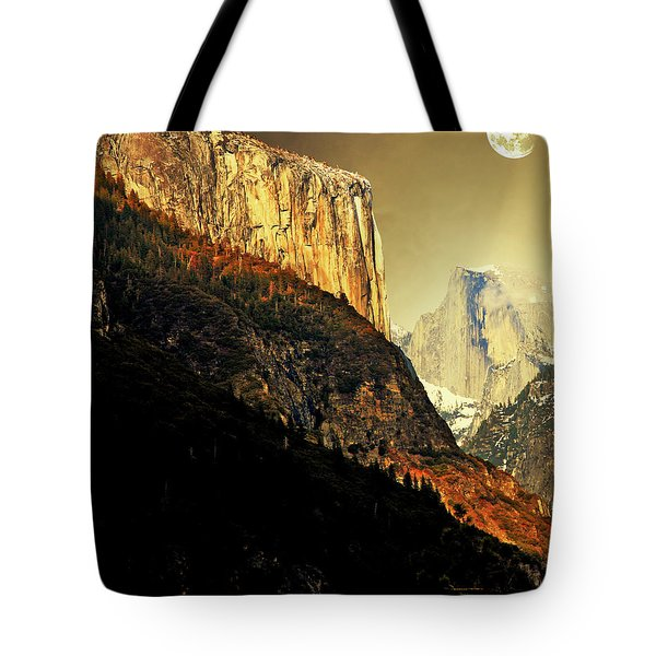Moon Over Half Dome . Portrait Cut Tote Bag by Wingsdomain Art and Photography