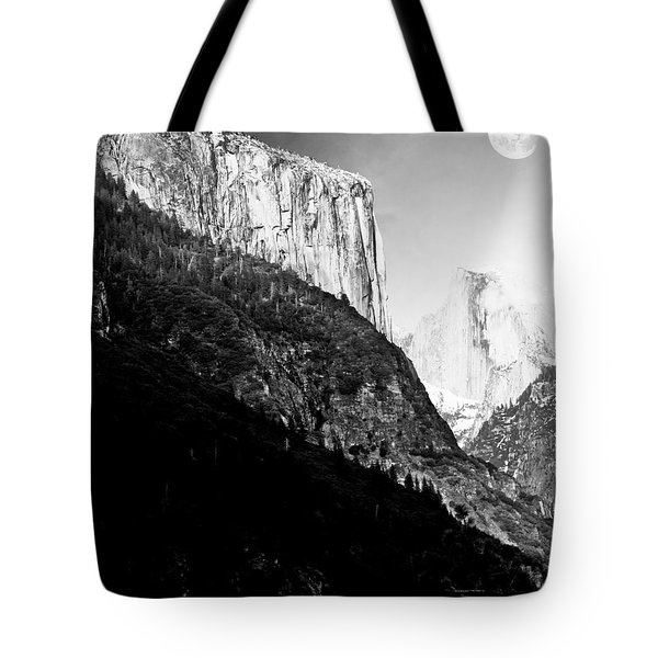 Moon Over Half Dome . Black and White Tote Bag by Wingsdomain Art and Photography
