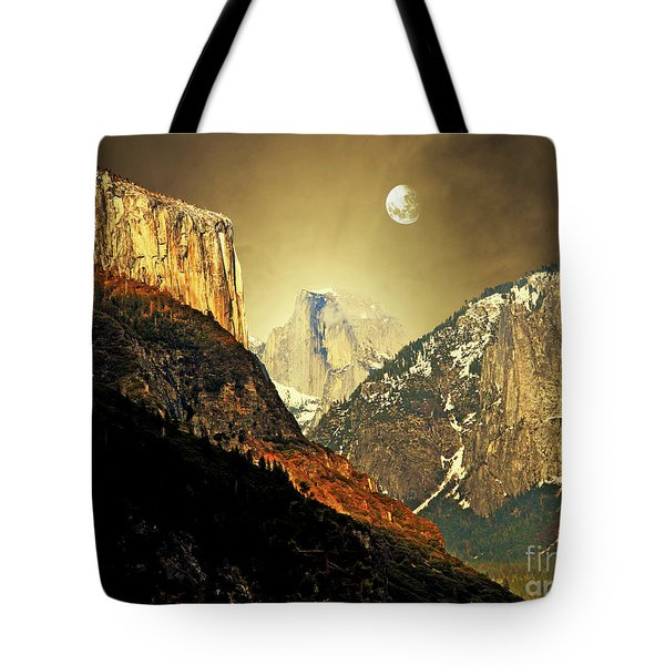 Moon Over Half Dome Tote Bag by Wingsdomain Art and Photography