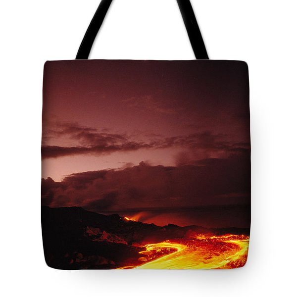 Moon Over Lava At Dawn Tote Bag by Peter French - Printscapes