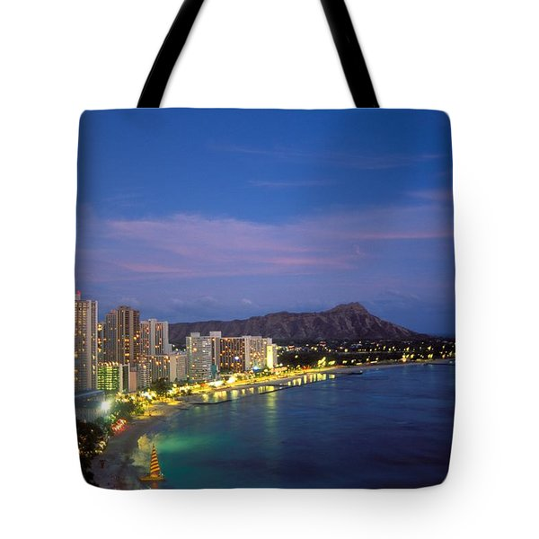 Moon Over Waikiki Tote Bag by William Waterfall - Printscapes