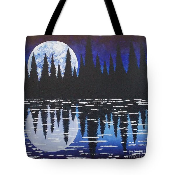 Moon Reflection Over Walden Pond Tote Bag by Tracy Levesque