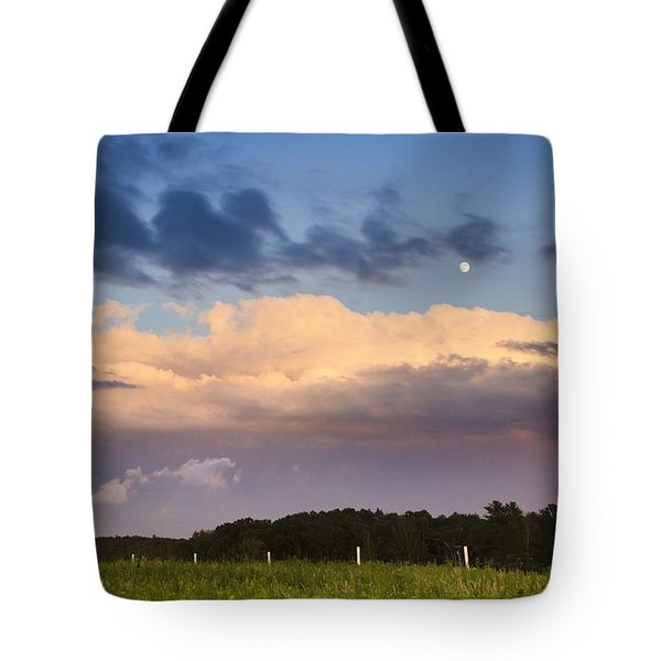 Moon Rise Over Country Fields Sunset Landscape Tote Bag by Christina Rollo