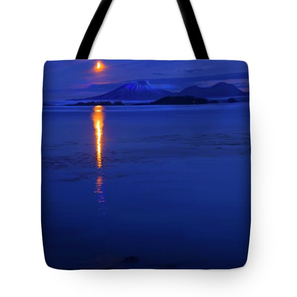 Moon Rise over Mt. Edgecumbe Tote Bag by Mike  Dawson