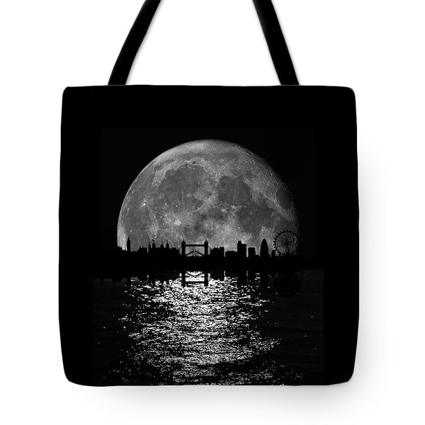 Moonlight London Skyline Tote Bag by Mark Rogan