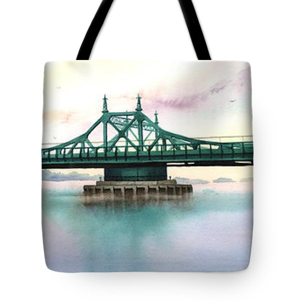 Morning Mist City Island Bridge Tote Bag by Marguerite Chadwick-Juner