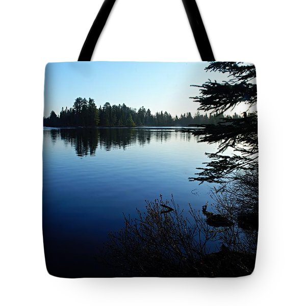 Morning on Chad Lake Tote Bag by Larry Ricker