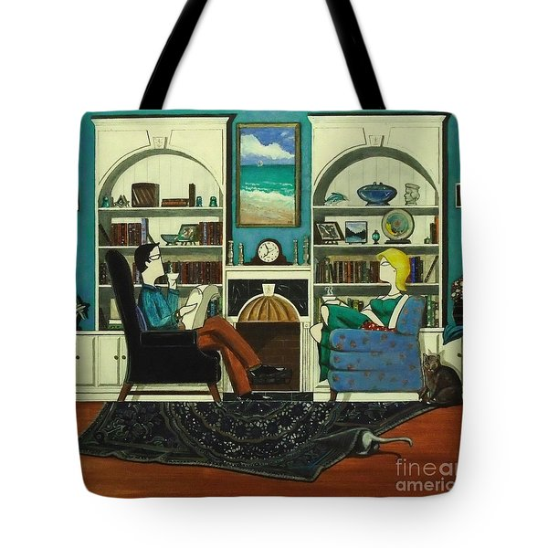 Morning With The Cats While Sitting In Chairs Tote Bag by John Lyes