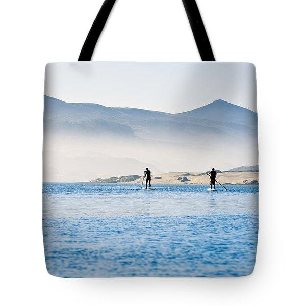 Morro Bay Paddle Boarders Tote Bag by Bill Brennan - Printscapes