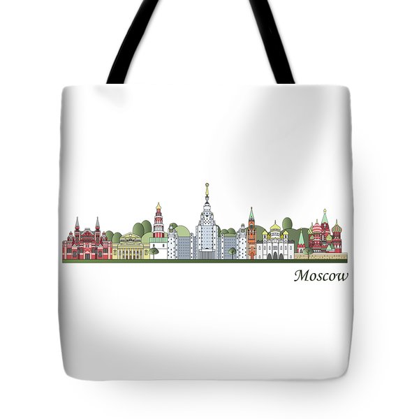 Moscow Skyline Colored Tote Bag by Pablo Romero