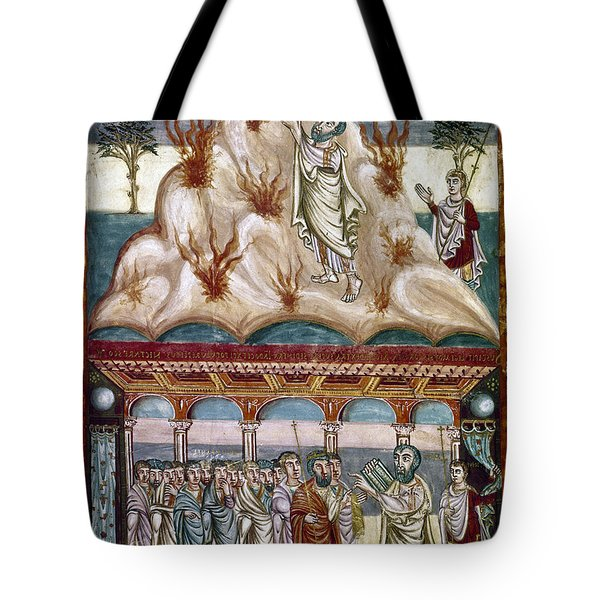 Moses Receiving Laws Tote Bag by Granger