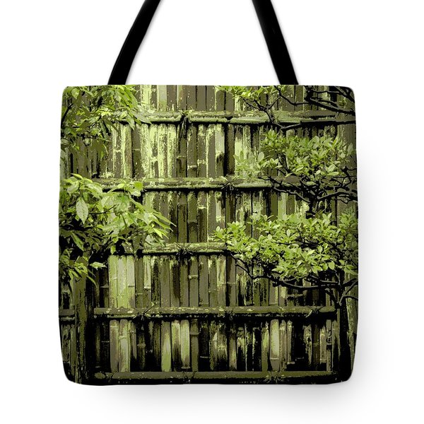 Mossy Bamboo Fence - Digital Art Tote Bag by Carol Groenen