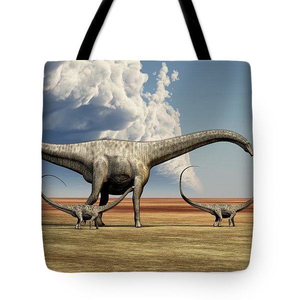 Mother Diplodocus Dinosaur Walks Tote Bag by Corey Ford